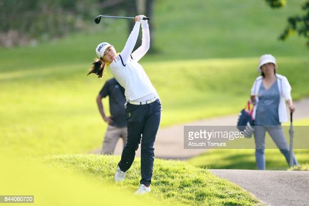Rie Tsuji of Japan hits her second shot on the 9th hole during the second round of the 50th LPGA Championship Konica Minolta Cup 2017 at the Appi...