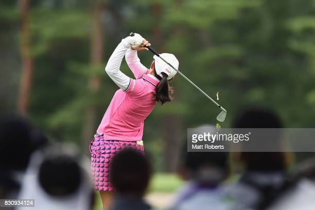Rie Tsuji of Japan hits her tee shot on the 12th hole during the final round of the NEC Karuizawa 72 Golf Tournament 2017 at the Karuizawa 72 Golf...