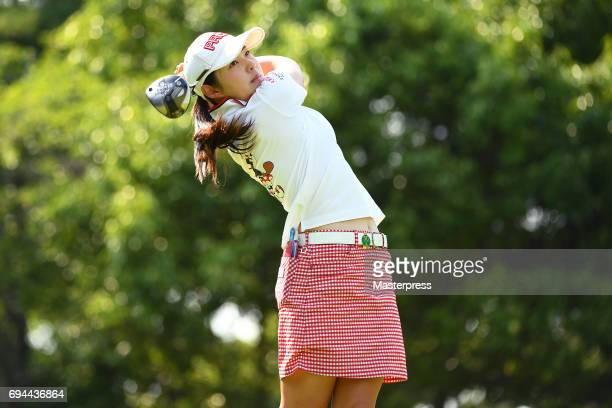 Rie Tsuji of Japan hits her tee shot on the 17th hole during the third round of the Suntory Ladies Open at the Rokko Kokusai Golf Club on June 10...