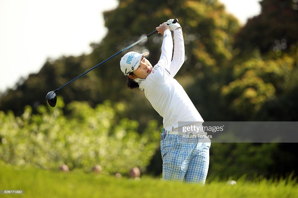 Rie Tsuji of Japan hits her tee shot on the 1st hole during the final round of the CyberAgent Ladies Golf Tournament at the Grand Fields Country Club on May 1, 2016 in Mishima, Japan.