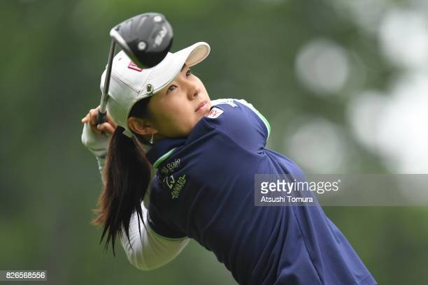 Rie Tsuji of Japan hits her tee shot on the 1st hole during the second round of the meiji Cup 2017 at the Sapporo Kokusai Country Club Shimamatsu...