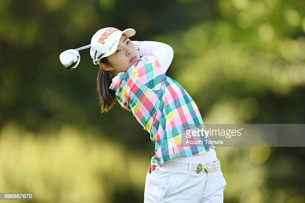 Rie Tsuji of Japan hits her tee shot on the 2nd hole during the final round of the Nitori Ladies 2016 at the Otaru Country Club on August 28 2016 in...
