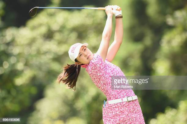 Rie Tsuji of Japan hits her tee shot on the 2nd hole during the first round of the Nichirei Ladies at the Sodegaura Country Club Shinsode Course on...