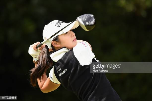 Rie Tsuji of Japan hits her tee shot on the 2nd hole during the first round of the Munsingwear Ladies Tokai Classic 2017 at the Shin Minami Aichi...
