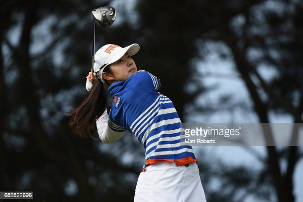 Rie Tsuji of Japan hits her tee shot on the 3rd hole during the final round of the HokennoMadoguchi Ladies at the Fukuoka Country Club Wajiro Course...