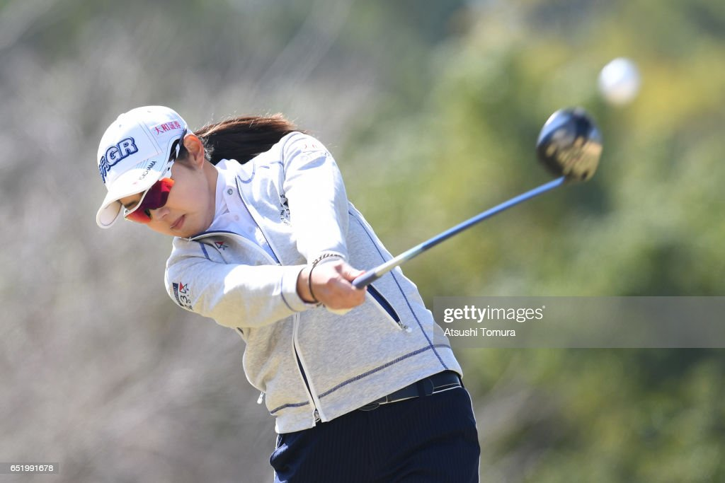 Rie Tsuji of Japan hits her tee shot on the 3rd hole during the second round of the Yokohama Tire PRGR Ladies Cup at the Tosa Country Club on March 11, 2017, Konan, Japan.