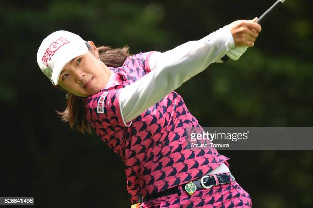 Rie Tsuji of Japan hits her tee shot on the 4th hole during the final round of the meiji Cup 2017 at the Sapporo Kokusai Country Club Shimamatsu...