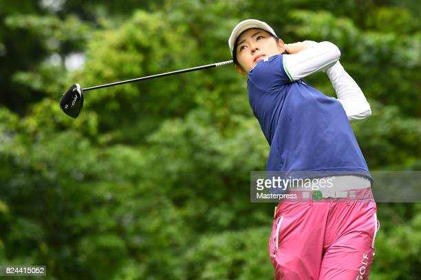 Rie Tsuji of Japan hits her tee shot on the 8th hole during the Daito Kentaku Eheyanet Ladies 2017 at the Narusawa Golf Club on July 30 2017 in...