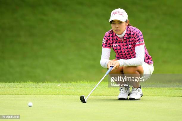 Rie Tsuji of Japan lines up during the first round of the Daito Kentaku Eheyanet Ladies 2017 at the Narusawa Golf Club on July 27 2017 in Narusawa...
