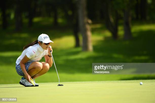 Rie Tsuji of Japan lines up during the second round of the Earth Mondamin Cup at the Camellia Hills Country Club on June 23 2017 in Sodegaura Japan