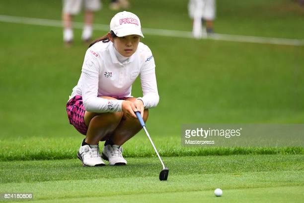 Rie Tsuji of Japan lines up during the third round of the Daito Kentaku Eheyanet Ladies 2017 at the Narusawa Golf Club on July 29 2017 in Narusawa...