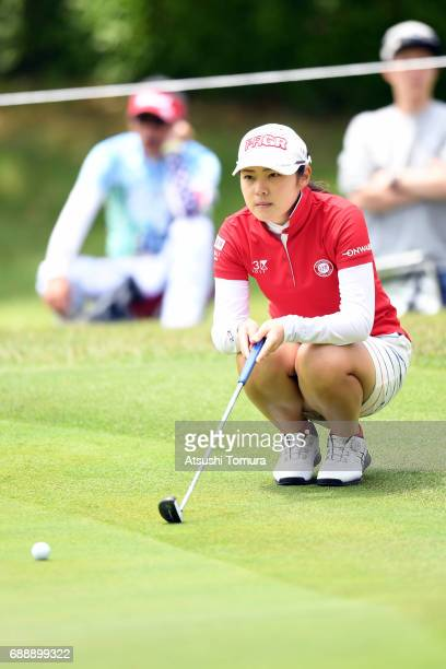 Rie Tsuji of Japan lines up her putt on the 3rd hole during the second round of the Resorttrust Ladies at the Oakmont Golf Club on May 27 2017 in...