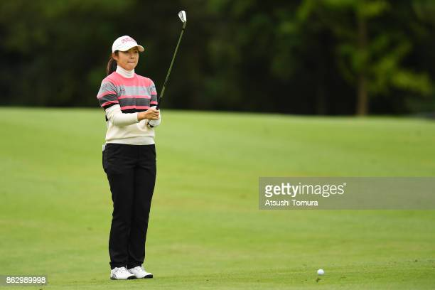 Rie Tsuji of Japan lines up her second shot on the 9th hole during the first round of the Nobuta Group Masters GC Ladies at the Masters Golf Club on...