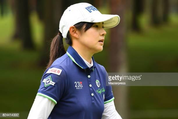 Rie Tsuji of Japan looks on during the Daito Kentaku Eheyanet Ladies 2017 at the Narusawa Golf Club on July 30 2017 in Narusawa Yamanashi Japan