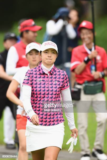 Rie Tsuji of Japan looks on during the second round of the NEC Karuizawa 72 Golf Tournament 2017 at the Karuizawa 72 Golf North Course on August 12...