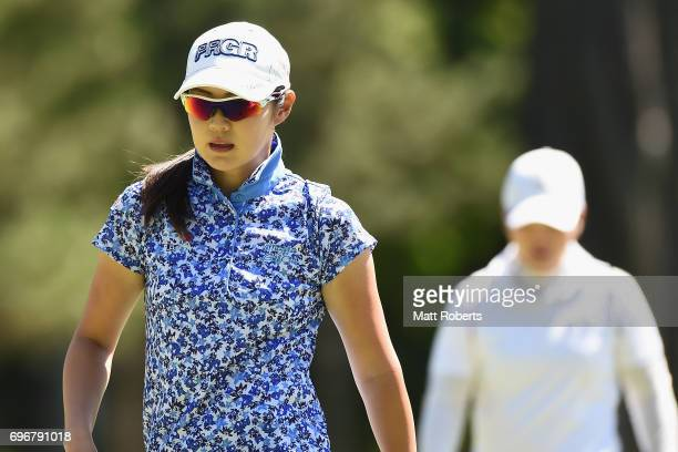 Rie Tsuji of Japan looks on during the second round of the Nichirei Ladies at the on June 17 2017 in Chiba Japan