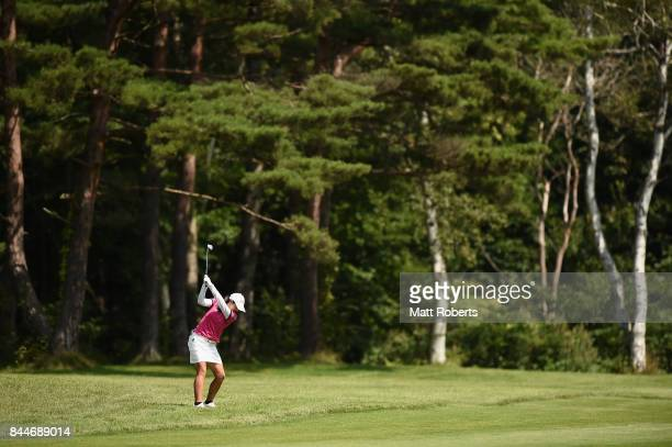 Rie Tsuji of Japan plays her approach shot on the 11th hole during the third round of the 50th LPGA Championship Konica Minolta Cup 2017 at the Appi...