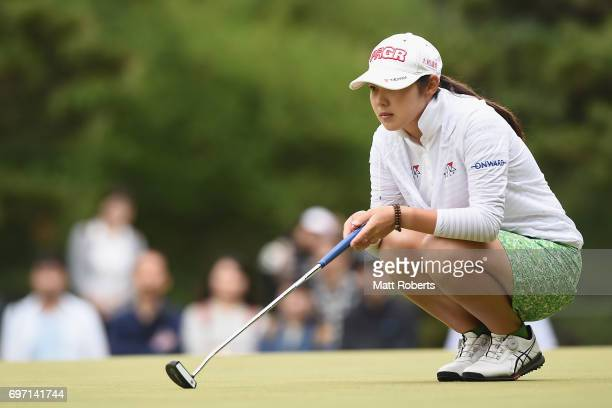 Rie Tsuji of Japan prepares to putt on the 10th green during the final round of the Nichirei Ladies at the on June 18 2017 in Chiba Japan