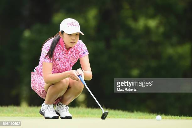 Rie Tsuji of Japan prepares to putt on the first green during the first round of the Nichirei Ladies at the Sodegaura Country Club Shinsode Course on...
