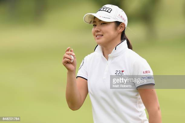 Rie Tsuji of Japan reacts after her putt on the 18th green during the final round of the Munsingwear Ladies Tokai Classic 2017 at the Shin Minami...