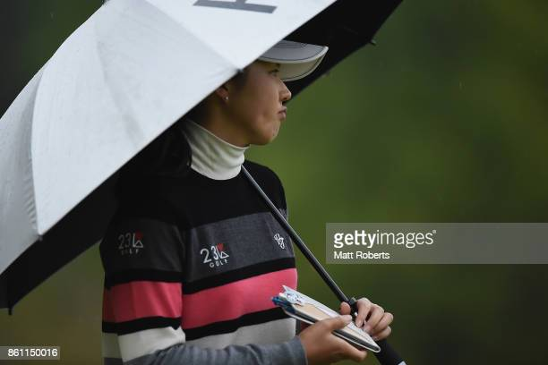 Rie Tsuji of Japan reatcs during the second round of the Fujitsu Ladies 2017 at the Tokyu Seven Hundred Club on October 14 2017 in Chiba Japan