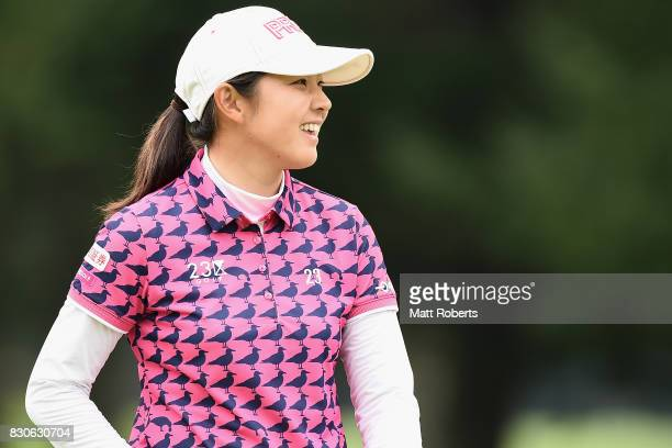 Rie Tsuji of Japan smiles after her putt on the 18th green during the second round of the NEC Karuizawa 72 Golf Tournament 2017 at the Karuizawa 72...
