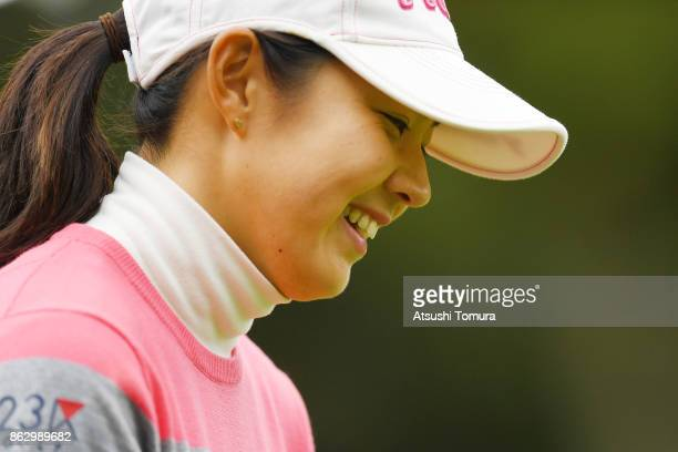 Rie Tsuji of Japan smiles during the first round of the Nobuta Group Masters GC Ladies at the Masters Golf Club on October 19 2017 in Miki Hyogo Japan