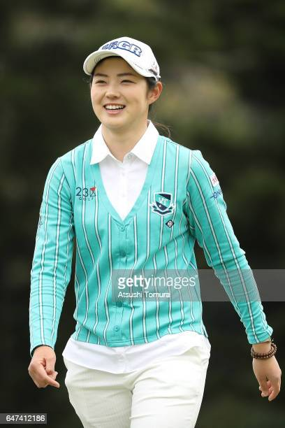 Rie Tsuji of Japan smiles during the second round of the Daikin Orchid Ladies Golf Tournament at the Ryukyu Golf Club on March 3 2017 in Nanjo Japan