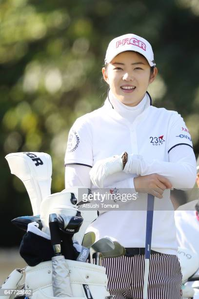 Rie Tsuji of Japan smiles during the third round of the Daikin Orchid Ladies Golf Tournament at the Ryukyu Golf Club on March 4 2017 in Nanjo Japan