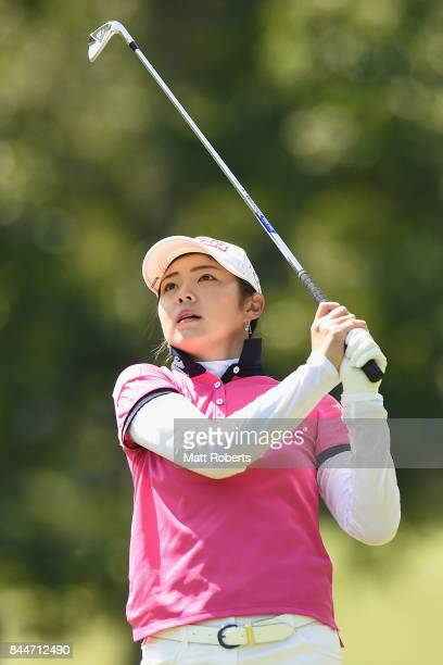 Rie Tsuji of Japan watches her approach shot on the 3rd hole during the third round of the 50th LPGA Championship Konica Minolta Cup 2017 at the Appi...