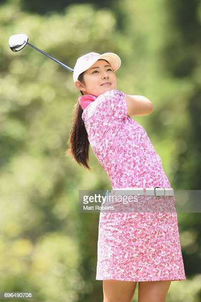 Rie Tsuji of Japan watches her tee shot on the 2nd hole during the first round of the Nichirei Ladies at the Sodegaura Country Club Shinsode Course...
