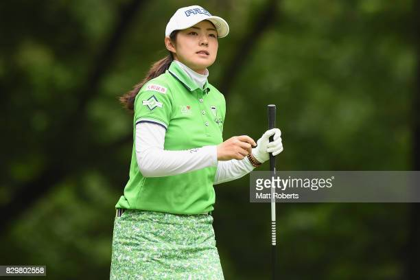 Rie Tsuji of Japan watches her tee shot on the 2nd hole during the first round of the NEC Karuizawa 72 Golf Tournament 2017 at the Karuizawa 72 Golf...