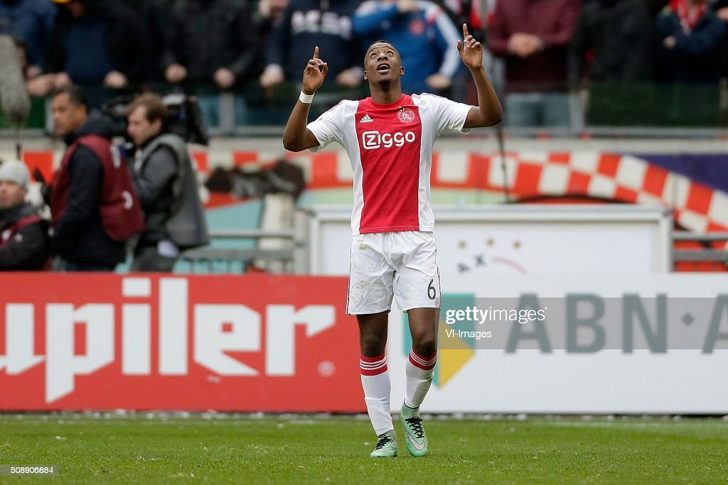 Riechedly Bazoer of Ajax during the Dutch Eredivisie match between Ajax Amsterdam and Feyenoord Rotterdam at the Amsterdam Arena on February 07, 2016 in Amsterdam, The Netherlands