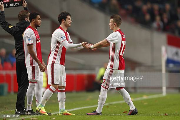Riechedly Bazoer of Ajax Pelle Clement of Ajax Vaclav Cerny of Ajax Debut of Pelle Clement of Ajaxduring the Dutch Eredivisie match between Ajax...