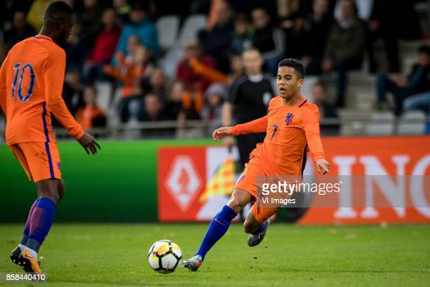 Riechedly Bazoer of Jong Oranje Justin Kluivert of Jong Oranje during the EURO U21 2017 qualifying match between Netherlands U21 and Latvia U21 at...
