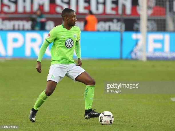 Riechedly Bazoer of Wolfsburg in action during the Bundesliga match between Bayer 04 Leverkusen and VfL Wolfsburg at BayArena on April 2 2017 in...