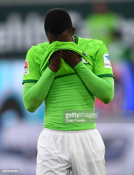 Riechedly Bazoer of Wolfsburg reacts at the end of the Bundesliga match between VfL Wolfsburg and Borussia Moenchengladbach at Volkswagen Arena on...