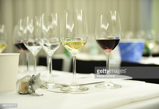 Riedel glasses are seen during the Anthony Hamilton Russell Leading The Way With His Iconic Wines From South Africa Wine Seminar Hosted By FOOD WINE...