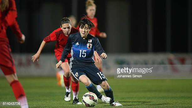 Rieke Dieckmann of Germany and Mayu Sasaki of Japan fight for the ball during the women's U23 international friendly match between WU20 Germany and...