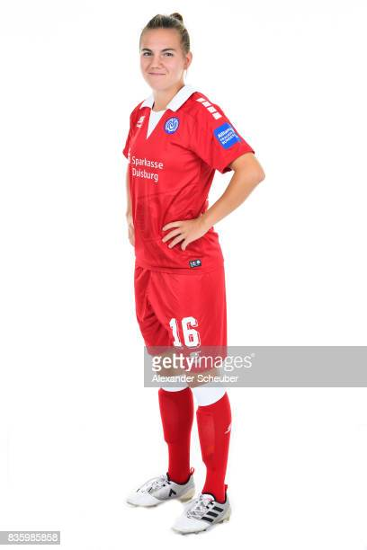 Rieke Dieckmann of MSV Duisburg poses during the Allianz Frauen Bundesliga Club Tour at MSV Duisburg on August 17 2017 in Duisburg Germany