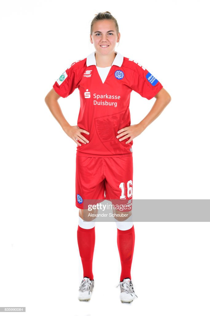 Rieke Dieckmann of MSV Duisburg poses during the Allianz Frauen Bundesliga Club Tour at MSV Duisburg on August 17, 2017 in Duisburg, Germany.
