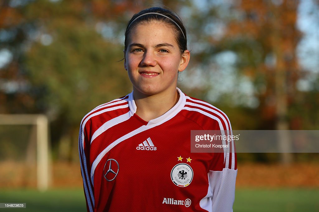 Rieke Dieckmann poses during the Germany Women's U17 team presentation at Sport School Wedau on October 27, 2012 in Duisburg, Germany.