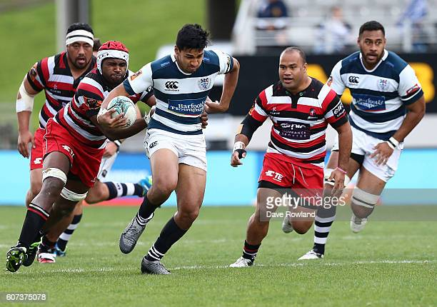Rieko Ioane of Auckland is chased by Viliame Rarasea of Counties Manukau during the round five Mitre 10 Cup match between Auckland and Counties...