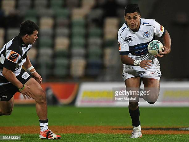 Rieko Ioane of Auckland makes a break during the round four Mitre 10 Cup match between Hawke's Bay and Auckland at McLean Park on September 7 2016 in...
