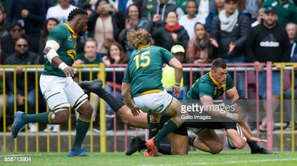 Rieko Ioane of New Zealand and Jesse Kriel of the Springbok Team during the Rugby Championship 2017 match between South Africa and New Zealand at DHL...