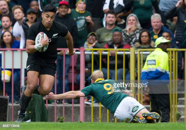Rieko Ioane of New Zealand and Ross Cronje of the Springbok Team during the Rugby Championship 2017 match between South Africa and New Zealand at DHL...