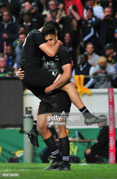 Rieko Ioane of New Zealand celebrates scoring during the Rugby Championship 2017 match between South Africa and New Zealand at DHL Newlands on...