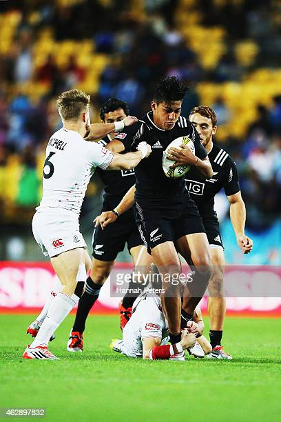 Rieko Ioane of New Zealand charges forward during the Cup Final match between New Zealand and England in the 2015 Wellington Sevens at Westpac...