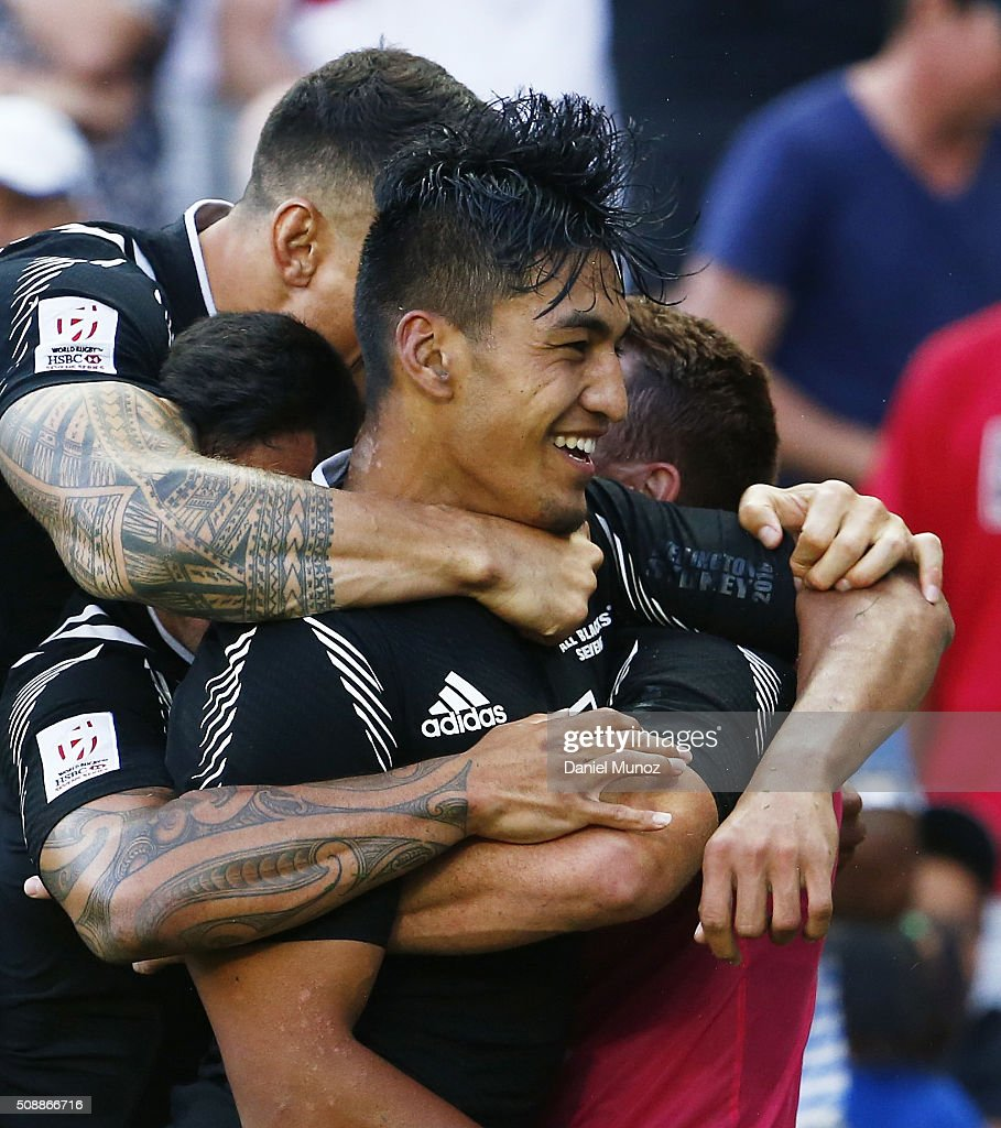 Rieko Ioane of New Zealand is congratulated by teammates after scoring the final try to win the 2016 Sydney Sevens final match between Australia and New Zealand at Allianz Stadium on February 7, 2016 in Sydney, Australia.