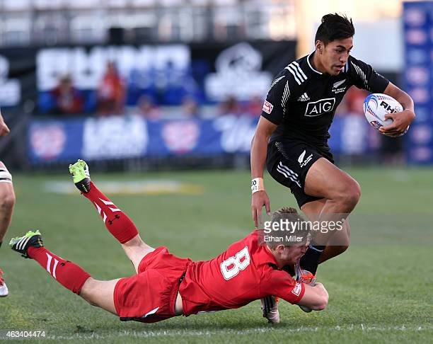 Rieko Ioane of New Zealand is tackled by Aled Jenkins of Wales during the USA Sevens Rugby tournament at Sam Boyd Stadium on February 13 2015 in Las...
